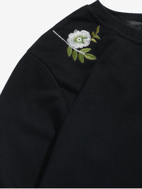 womens Flower Leaves Embroidered Graphic Sweatshirt - BLACK M Mobile