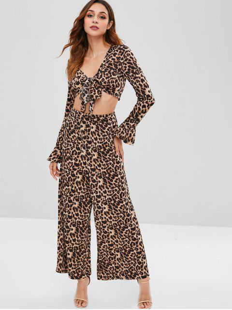 hot ZAFUL Bell Sleeves Leopard Loose Pants Set - LEOPARD XL Mobile