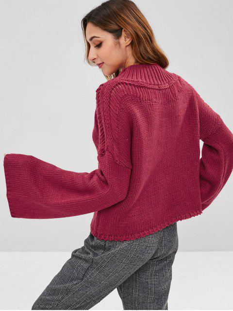 sale ZAFUL Flare Sleeve Mock Neck Sweater - RED WINE ONE SIZE Mobile