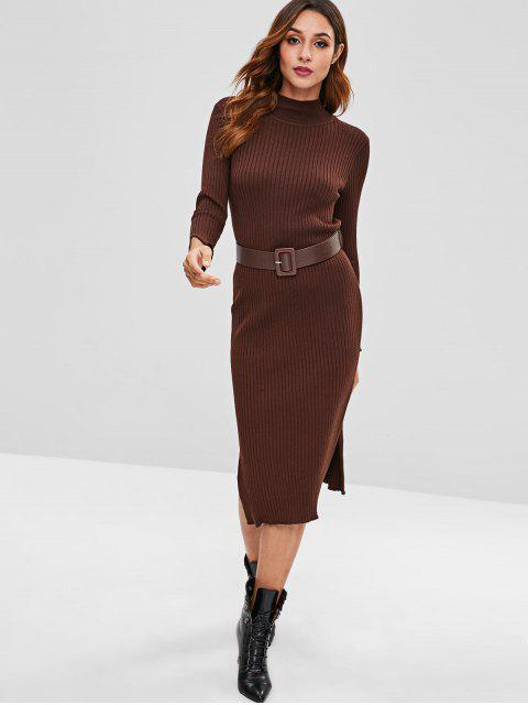 hot Ribbed Belted High Neck Slit Dress - COFFEE ONE SIZE Mobile