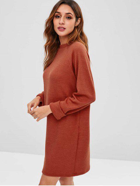 Robe Pull Droite à Manches Raglan - Châtaigne Rouge XL Mobile