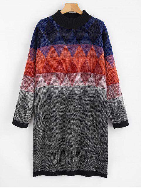 Vestido estilo suéter con gráfico geométrico - Multicolor Única Talla Mobile