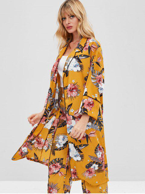 affordable ZAFUL Floral Print Lapel Piping Cardigan - BRIGHT YELLOW M Mobile