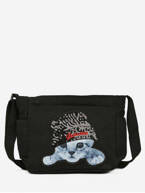 lady Cat Pattern Canvas Crossbody Bag - BLACK  Mobile