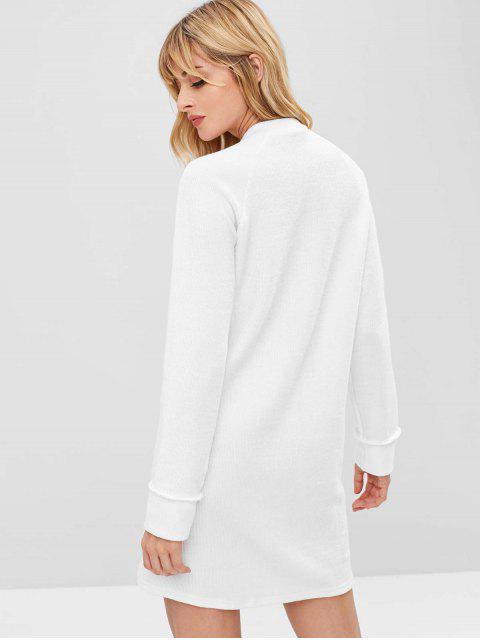 shop Raglan Sleeve Shift Sweater Dress - WHITE S Mobile