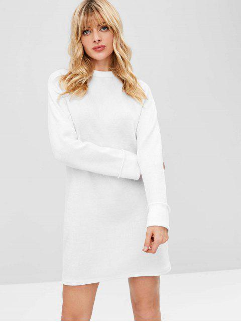 shop Raglan Sleeve Shift Sweater Dress - WHITE S Mobile