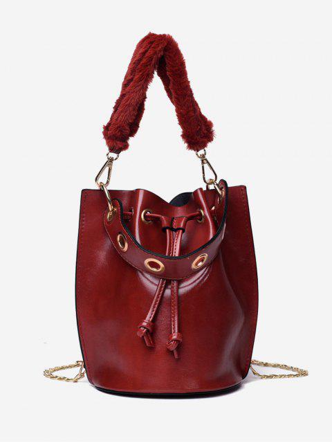 hot Bucket String Design Handbag - RED DIRT  Mobile