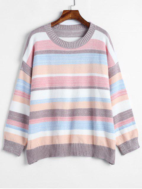 Suéter de rayas de gran tamaño - Multicolor Talla única Mobile