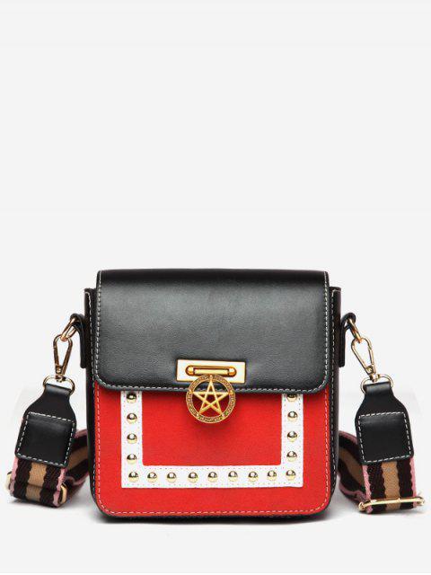 chic Star Rivet Pattern Crossbody Bag - BLACK  Mobile