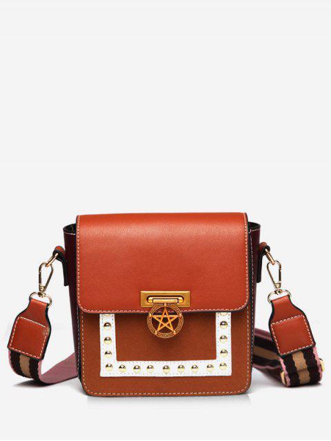 sale Star Rivet Pattern Crossbody Bag - BROWN  Mobile