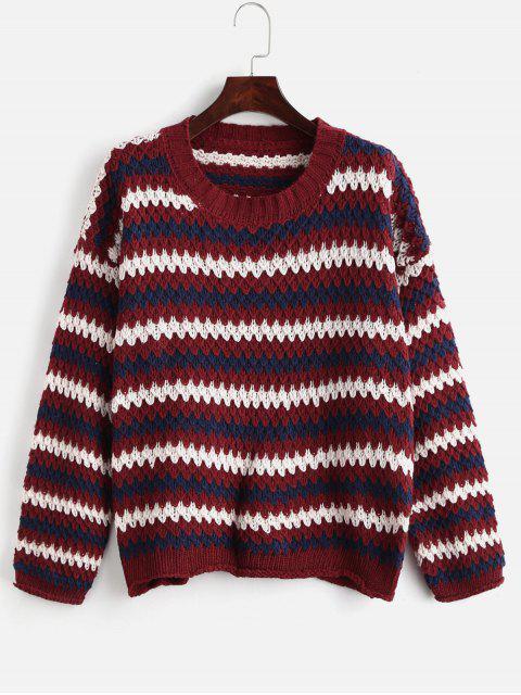 Suéter de gran tamaño de la raya colorida - Multicolor Talla única Mobile
