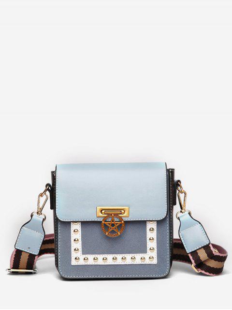 online Star Rivet Pattern Crossbody Bag - BLUE  Mobile