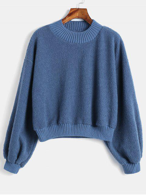 unique Fluffy Plain Teddy Sweatshirt - BLUE M Mobile