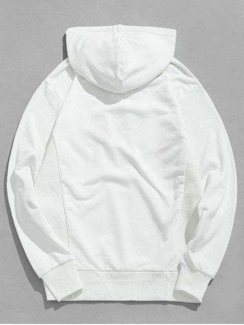 affordable Letter Patchwork Drawstring Hoodie - WHITE M Mobile