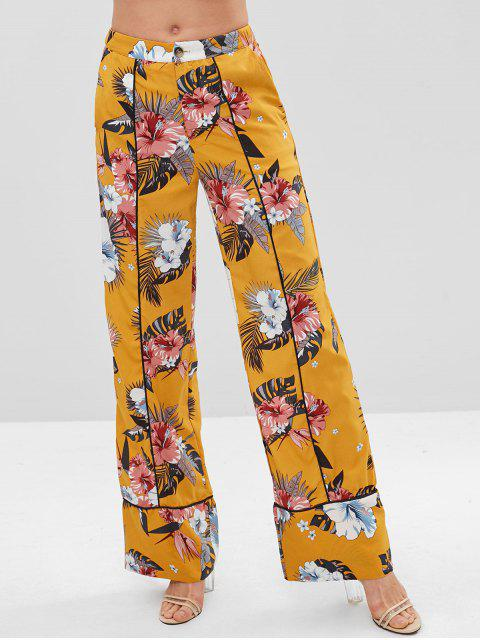 buy ZAFUL Floral Print Piping Wide Leg Pants - BRIGHT YELLOW XL Mobile
