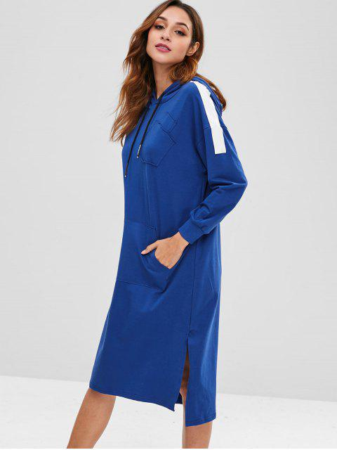 outfit Side Slit Front Pocket Hoodie Dress - DEEP BLUE ONE SIZE Mobile