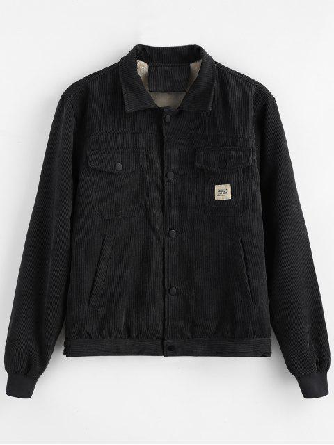 Bolsillos de apliques de pana de abrigo - Negro L Mobile