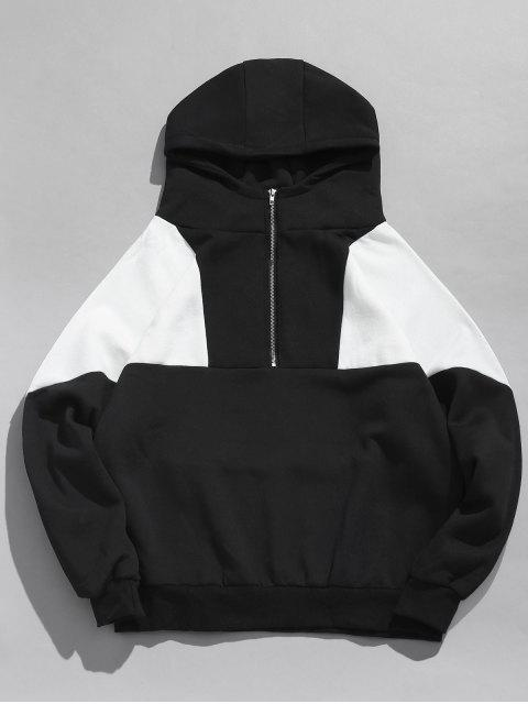 buy Half Zip Color Block Fleece Hoodie - BLACK M Mobile