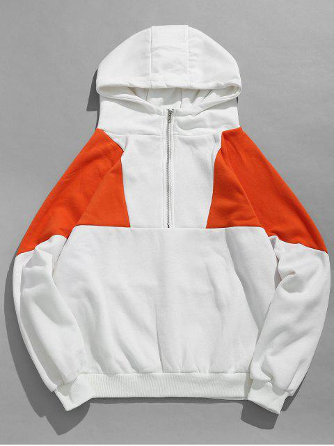 women's Half Zip Color Block Fleece Hoodie - WHITE M Mobile