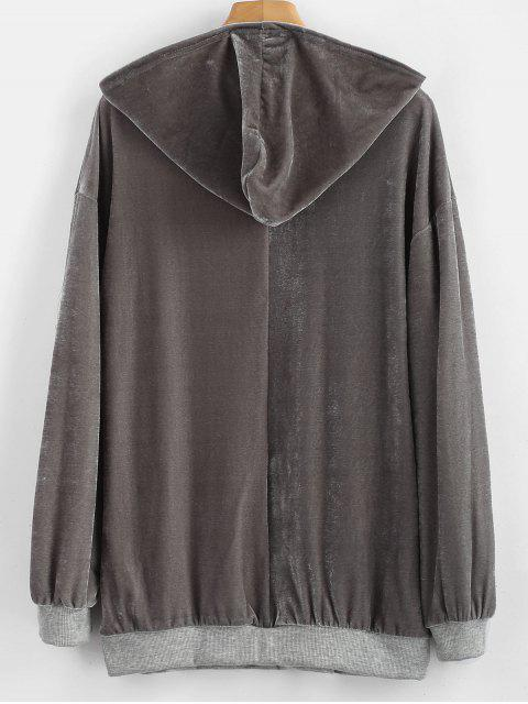 buy Velvet Front Pocket Hoodie - GRAY L Mobile
