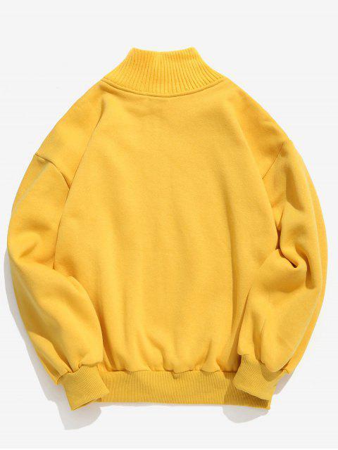 lady Patchwork Graphic Fleece Sweatshirt - YELLOW L Mobile