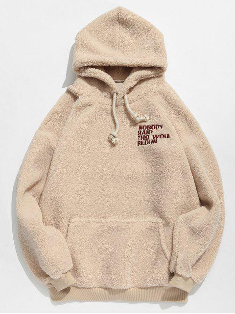 Gestickter Buchstabe flaumiger Hoodie - Aprikose M Mobile