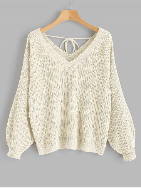 hot V Neck Drop Shoulder Oversized Sweater - WARM WHITE M Mobile