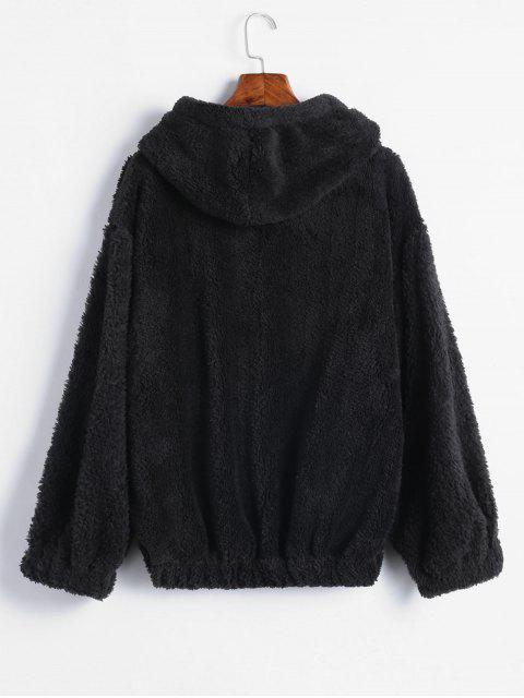 best Drop Shoulders Faux Shearling Hoodie - BLACK ONE SIZE Mobile