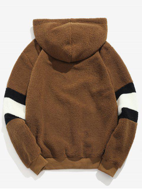 outfit ZAFUL Contrast Stripe Pullover Fluffy Hoodie - BROWN M Mobile