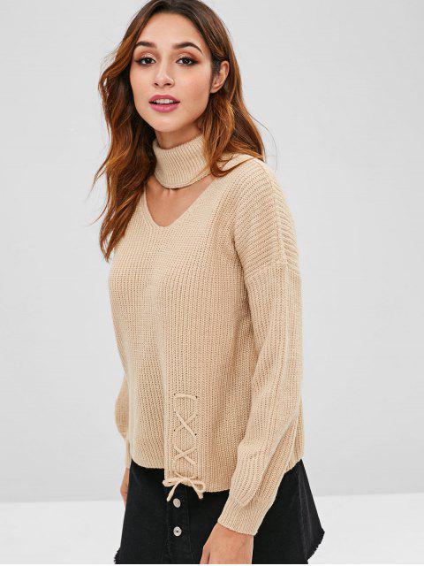 women's Lace Up Cutout Drop Shoulder Sweater - TAN ONE SIZE Mobile