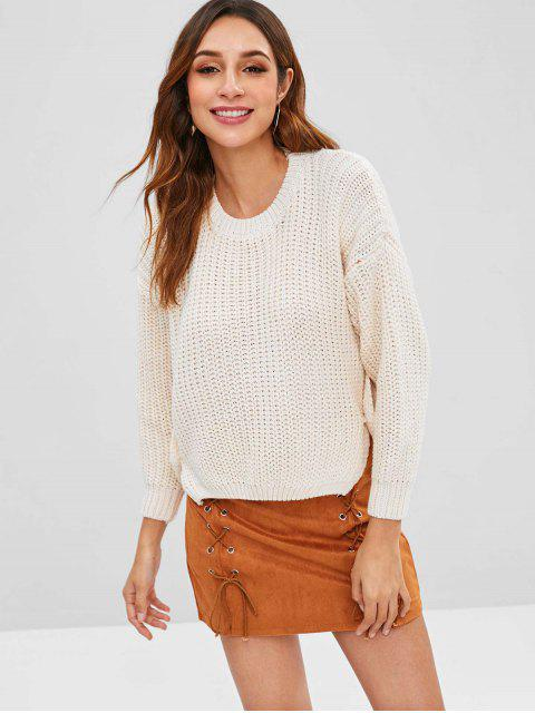 fancy Button Embellished High Low Chunky Sweater - WARM WHITE ONE SIZE Mobile