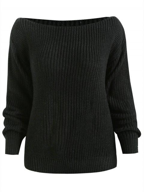 chic ZAFUL Relaxed Slash Neck Sweater - BLACK L Mobile