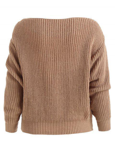 sale ZAFUL Relaxed Slash Neck Sweater - KHAKI L Mobile