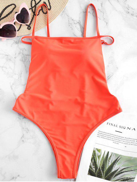 new ZAFUL Strappy Low Back One Piece Swimsuit - ORANGE L Mobile