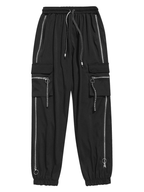 hot Drawstring Zipper Pockets Jogger Pants - BLACK XL Mobile