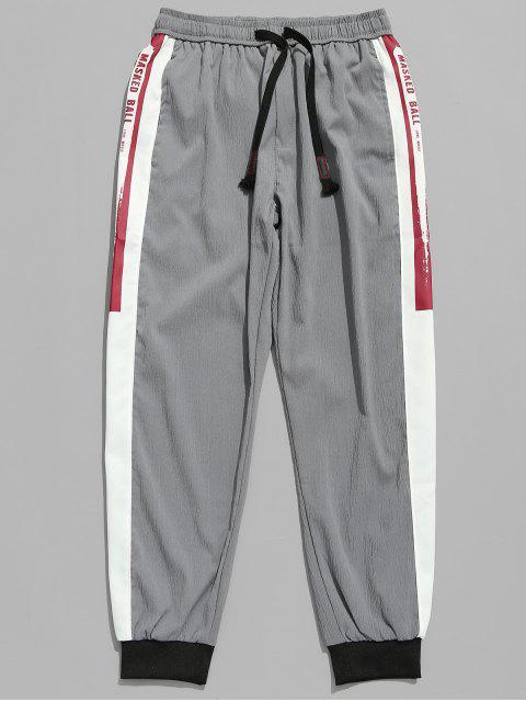 Pantalon de Jogging Motif de Lettre à Cordon - Gris Foncé XL Mobile