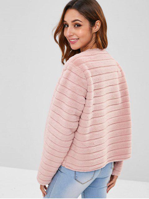 sale ZAFUL Open Front Faux Fur Short Coat - LIGHT PINK M Mobile