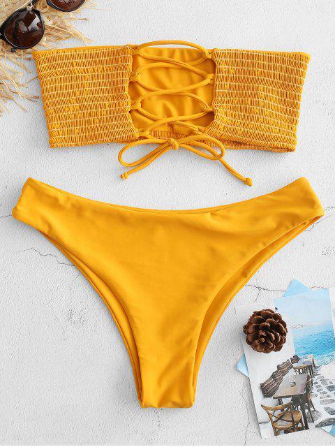 hot ZAFUL Lace-up Smocked Bikini Set - BEE YELLOW S Mobile