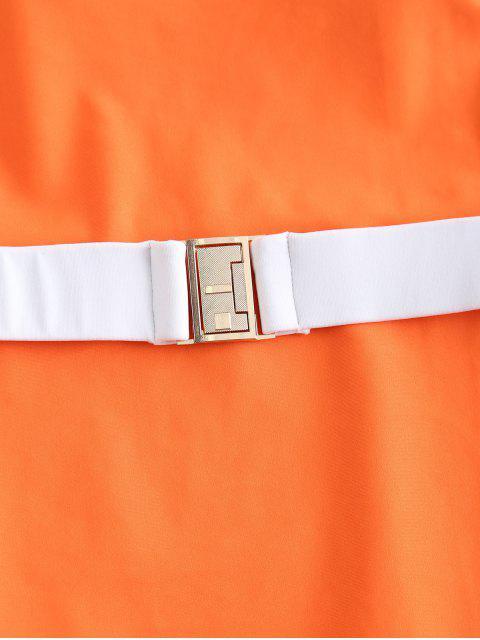 ZAFUL Cinturón corte alto traje de baño Bandeau - Naranja Papaya S Mobile