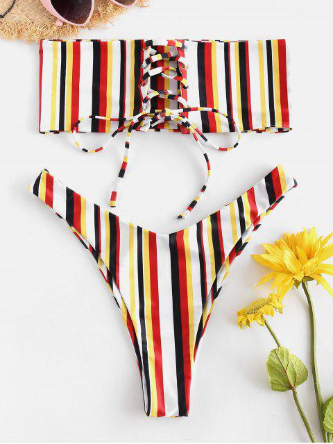 outfits ZAFUL Lace-up Colorful Stripe Bikini Set - MULTI L Mobile