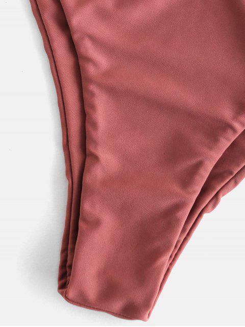 sale ZAFUL Frilled Padded Smocked Bikini Set - ROSY FINCH S Mobile