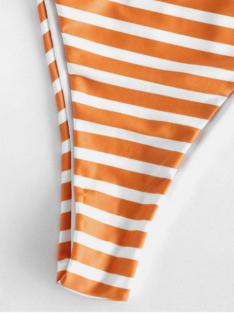 online ZAFUL Striped Smocked Bandeau Bikini Set - ORANGE GOLD L Mobile