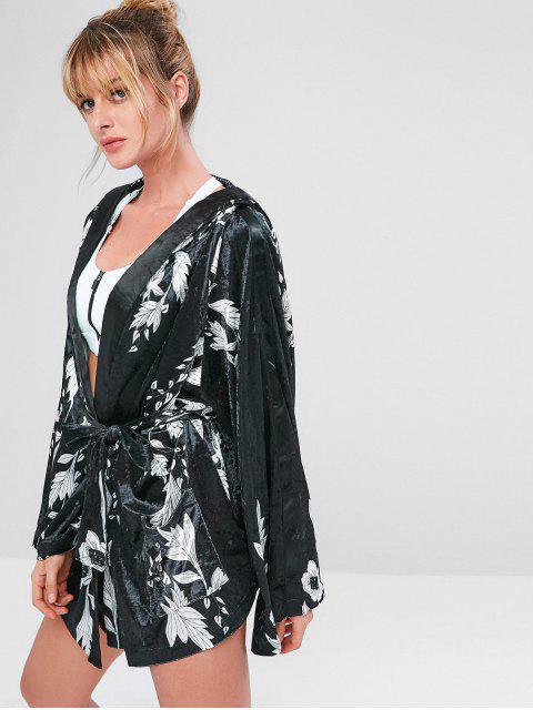ZAFUL Manteau Fleur en Velours avec Ceinture - Noir M Mobile