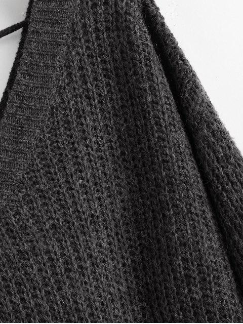 shop Drop Shoulder V Neck Oversized Sweater - BLACK M Mobile