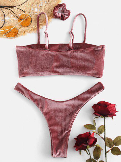 ZAFUL  Hochgeschnittenes Samt-Bikini Set mit Haarband - Rosiger Fink L Mobile