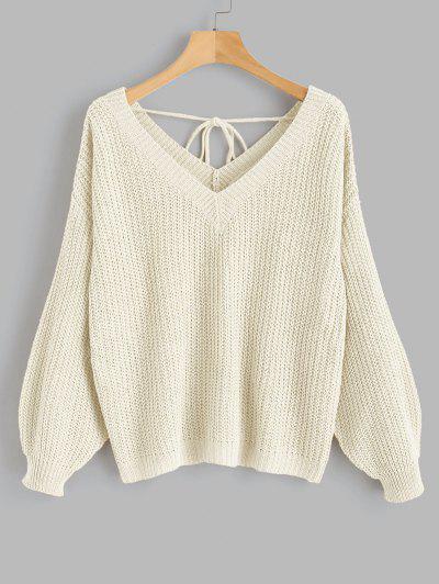 Drop Shoulder V Neck Oversized Sweater - Warm White L