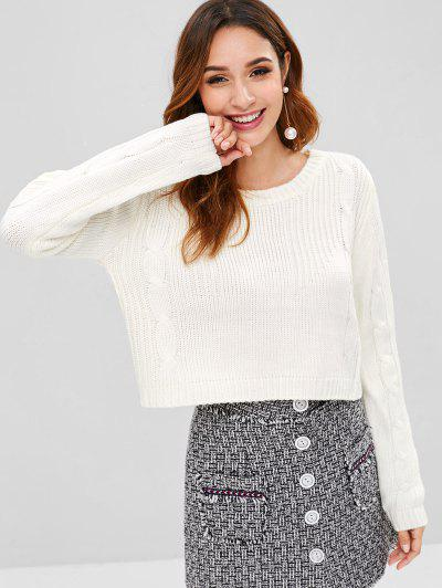 Cable Knit Crop Sweater - White