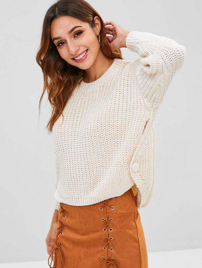 Button Embellished High Low Chunky Sweater - Warm White