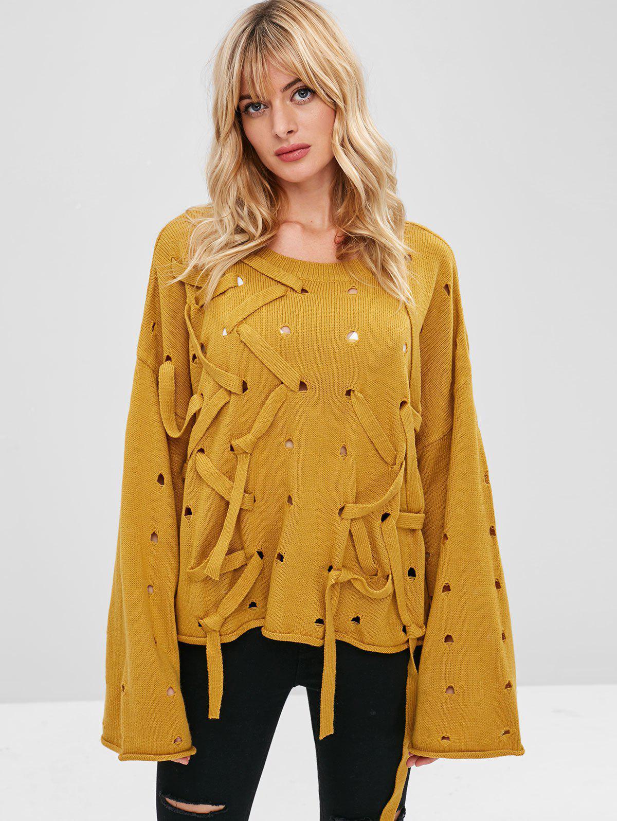 ZAFUL Drop Shoulder Ripped Straps Sweater