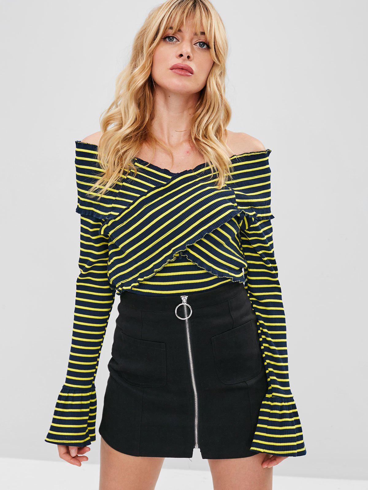 ZAFUL Flare Sleeves Striped Overlap Sweater